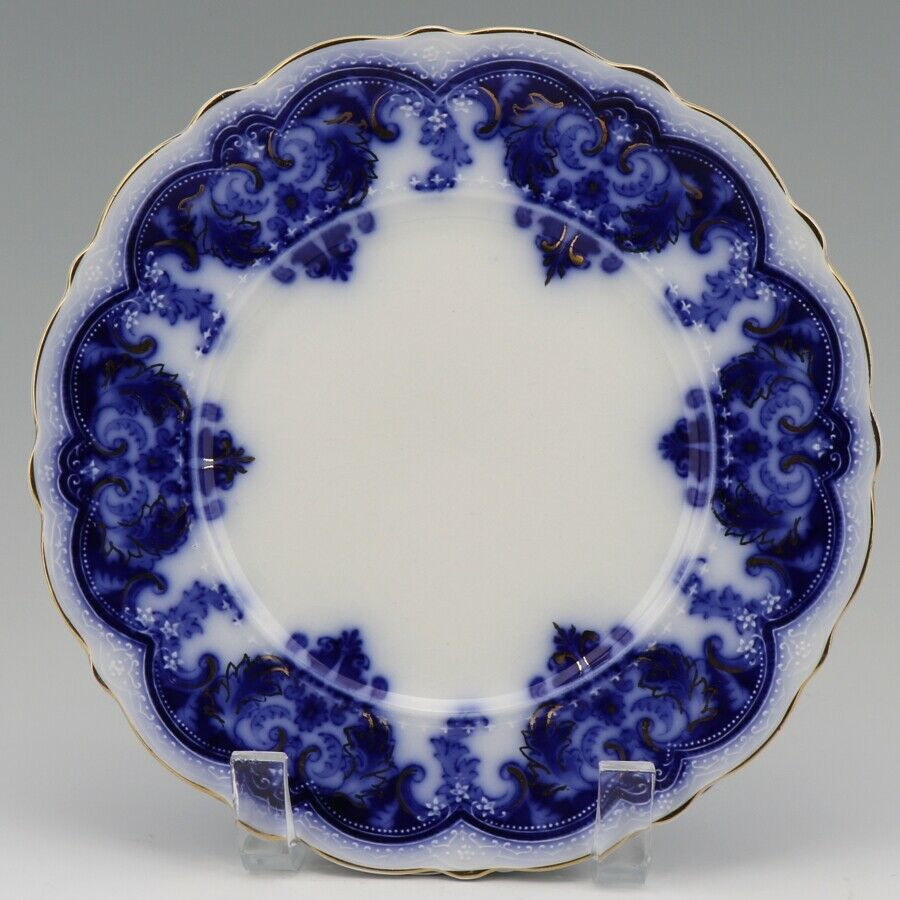 """Johnson Brothers Antique Flow Blue Georgia 8"""" Luncheon Plate a set of 3"""