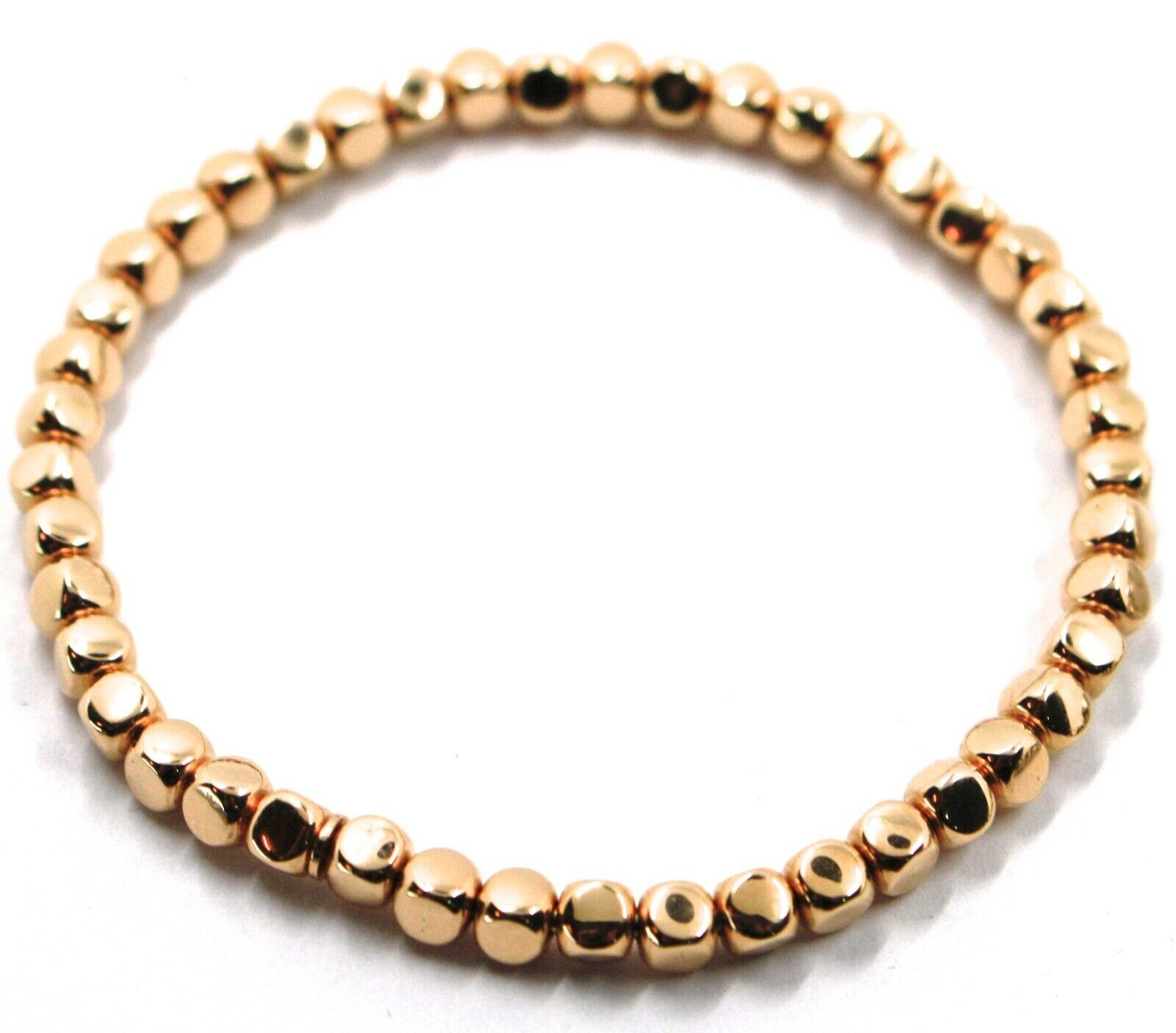 "SOLID 18K ROSE GOLD ELASTIC BRACELET, CUBES DIAMETER 4 MM 0.16"", MADE IN ITALY"