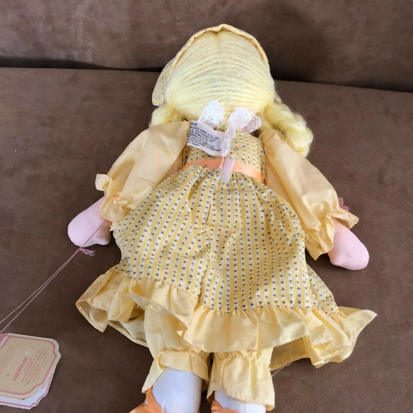 "Applause Daisy soft body doll vintage yellow dress hair Piorette 16""  image 7"