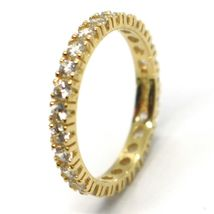 Yellow Gold Ring 750 18K, Eternity, 4 Tips, Thickness 3 mm, Zircon Cubic image 3
