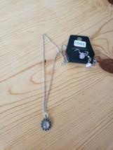 1002 Silver W/ Light Purple Pendant Necklace Set (New) - $8.58