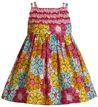 Bonnie Jean Little Girl 2T-6X Pink Multicolor Floral Print Double Strap Dress