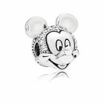 PANDORA Silver Disney Parks Shimmering Mickey Portrait Clip Charm 797495CZ - $29.69