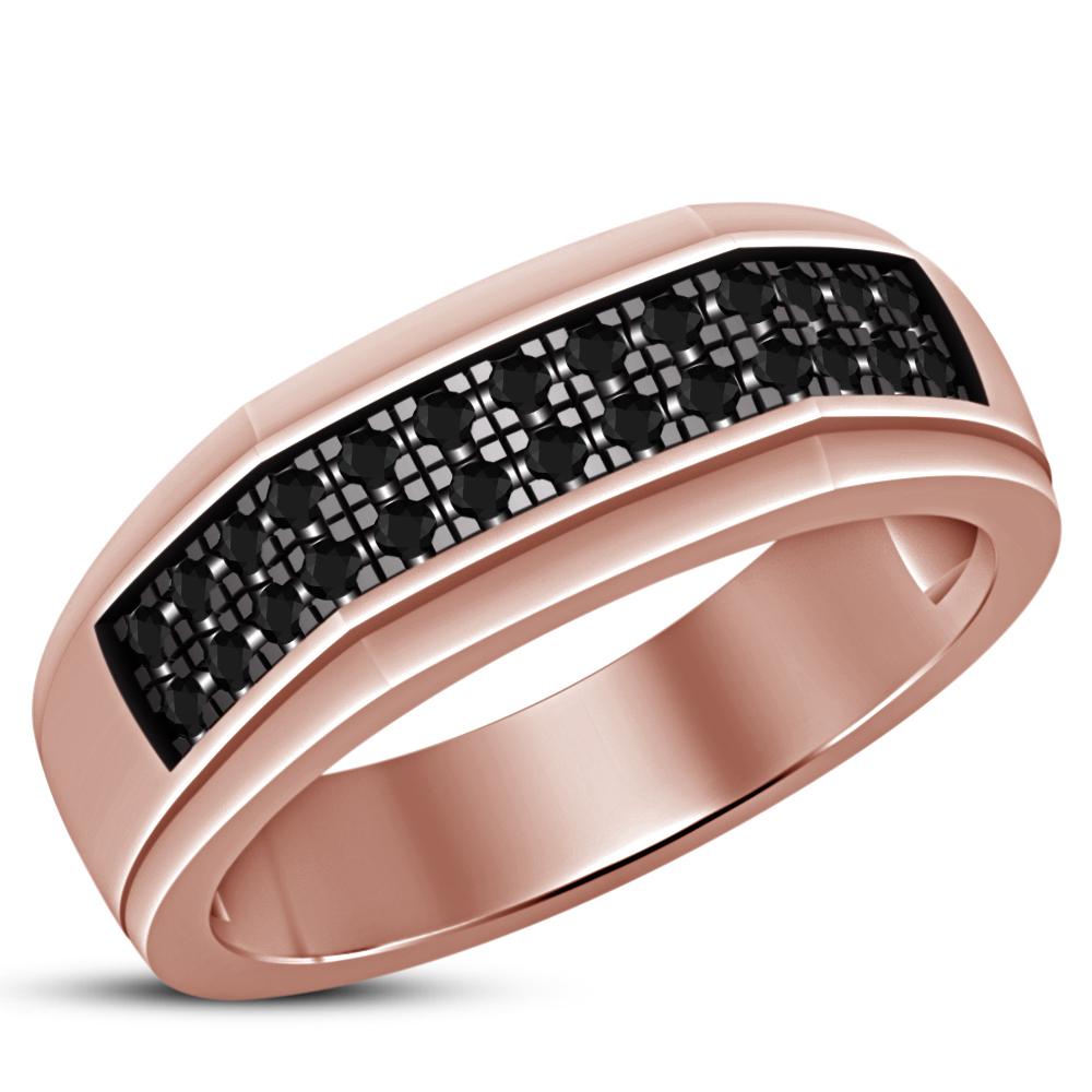 Round Cut Black Sim Diamond 925 Silver 10k Rose Gold Plated Engagement Band Ring