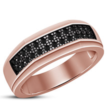 Round Cut Black Sim Diamond 925 Silver 10k Rose Gold Plated Engagement Band Ring - $72.99