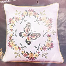 "Vintage Bucilla Stamped Cross Stitch Pillow Kit - Butterfly - 16"" Linen - $28.70"