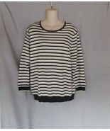 Lands' End sweater pullover XL 18 black white gold metallic stripes 3/4 ... - $17.59