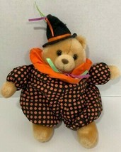 Russ Boo Tan Teddy Bear Plush Halloween black orange polka dot clown sui... - $17.81