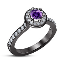 Purple Amethyst Womens Engagement Ring 14k Black Gold Finish 925 Solid Silver - £54.72 GBP