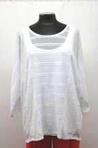 Alfani Knit Top with Tank Mixed Stitch High Low Illusion White Size XL N... - $25.97