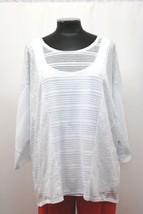 Alfani Knit Top with Tank Mixed Stitch High Low Illusion White Size XL NWT MyAFC - $25.97
