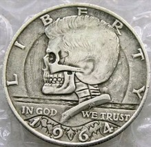 Hobo Nickel 1964 Skull Kennedy Half Dollar Skeleton Casted Coin - $11.39