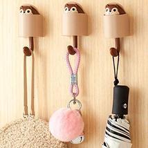 hebensi 4Pcs Adhesive Hooks Cute Cartoon Squirrel Wall Hooks for Kid's Room Livi image 4
