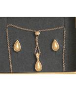 Avon Teardrop Dangle Necklace & Stud Earrings Pearlesque Faux Pearl GIFT... - $19.75