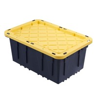 12 Gallon Flat Lockable Lid Tough Tote Heavy Duty Storage Plastic Bin Co... - $11.81