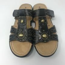 Naturalizer N5 Comfort Leather Sandals Womens 8 Journie Black Adjustable Strap - $29.99