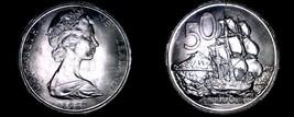 1967 New Zealand 50 Cents World Coin - Elizabeth II - Endeavour - $6.99