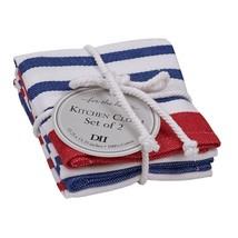 DII Design Imports Nautical Striped Dishcloth Set of 2. Red White Blue C... - $14.95