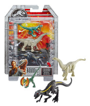 Jurassic World Mini Action Dinos Apatosaurus, Dilophosaurus, Metallic In... - $13.88