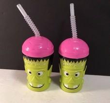 Greenbrier Water Cup W Lid & Straw Halloween Lot of 2 Frankenstein Head ... - $8.59