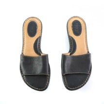 Born Black Leather Slip On Sandals Slides Comfort Shoes Womens 8 - $34.50