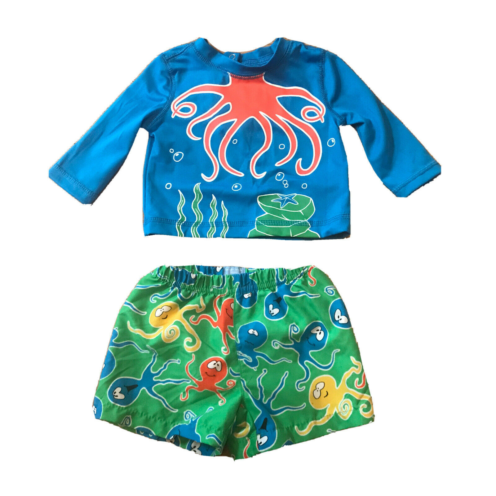 The Children's Place Boys 3-6 Month Bathing Suit Swimsuit Trunks Blue Green Fish - $10.18