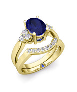 14k Yelllow Gold Finish Sapphire & Simulated Diamond Bridal Engagement Ring - $81.22