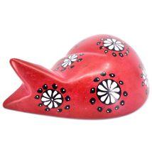 Tabaka Chigware Hand Carved Kisii Soapstone Red w Flower Sleeping Cat Figure image 3