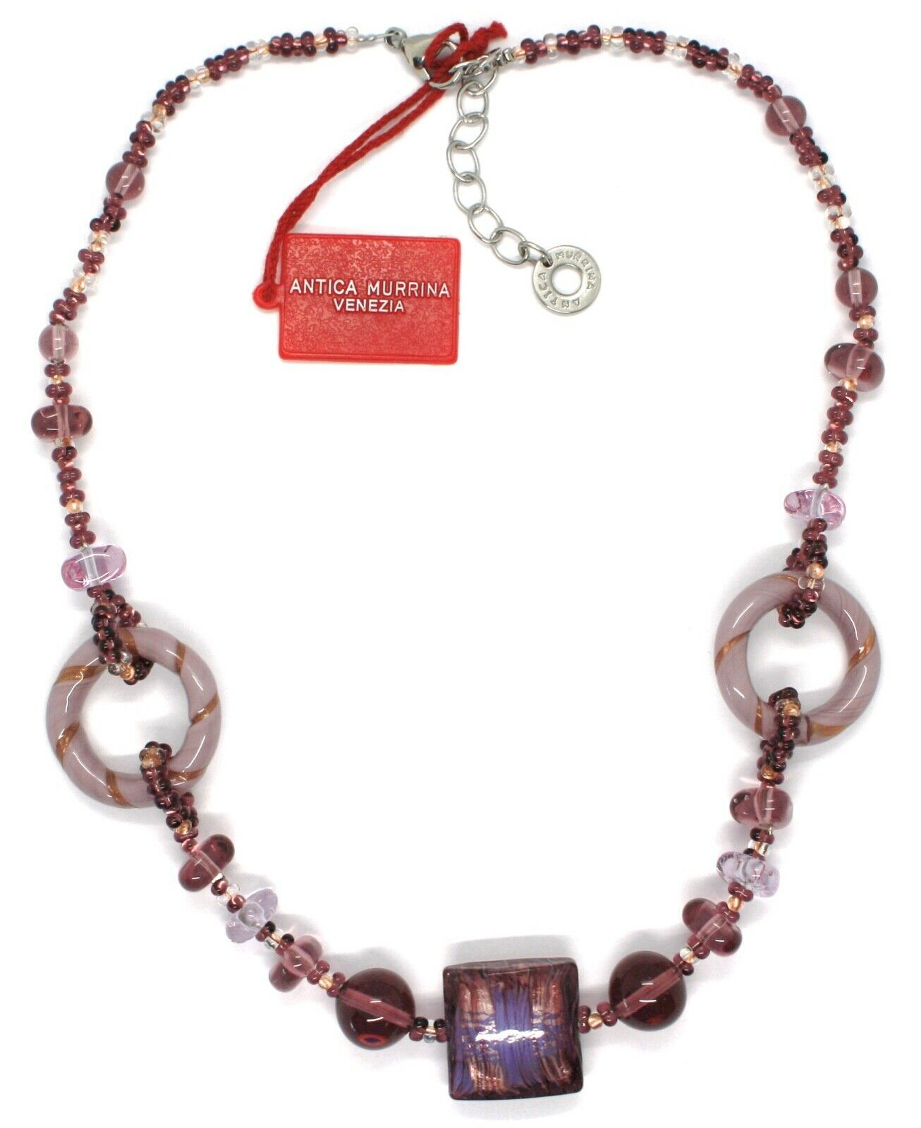 Necklace Antique Murrina,CO666A05,Circles,Squares,Spheres,Purple,Glass Murano
