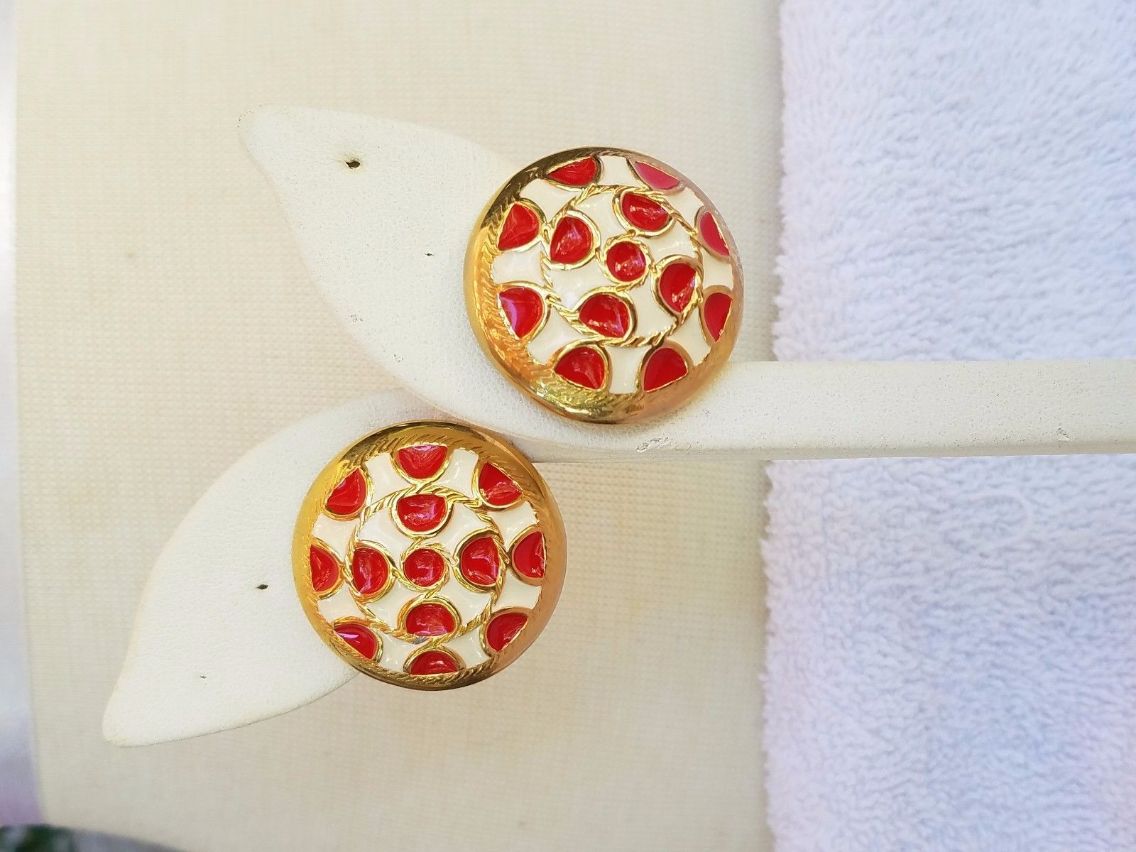 Red and White Enamel Vintage Earrings with Gold Tone Trim Pierced Earrings