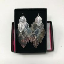 "Avon Textured Fashion Silvertone Wire Pierced Leaf Dangle Earrings 3"" NIB - $11.87"