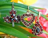 3 vintage bohemian czech red garnet pendants heart maple leaf teardrop thumb155 crop