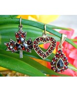 3 Vintage Bohemian Czech Red Garnet Pendants Heart Maple Leaf Teardrop - $154.95