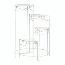 Tiered Plant Stand, Iron White Plant Stands Indoor With Four Shelves - $72.41