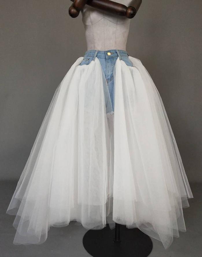 Women Ruffle Slit Tulle Skirt Floor Length Tulle Skirt w. Slit Jean Party Skirt