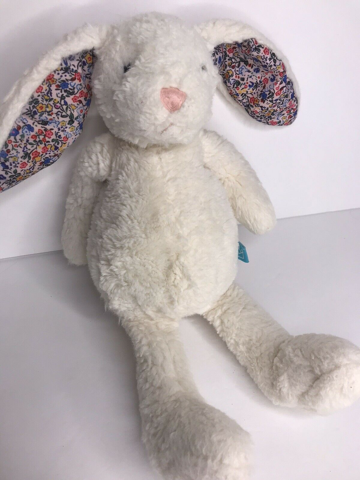 Primary image for Manhattan Toy Pattern Pals White Bunny Rabbit Plush Floral Flower Print Ears