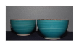"Set Of 2 Turquoise Swirl Stoneware Bowls, Royal Norfolk  5.5"" - $12.13"