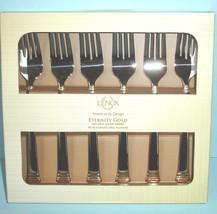 Lenox ETERNITY GOLD Set of 6 Salad Dessert Forks Stainless Flatware Boxed New - $29.90