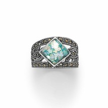 .925 Sterling Silver Oxidized Marcasite and Roman Glass Women's Ring - $75.70