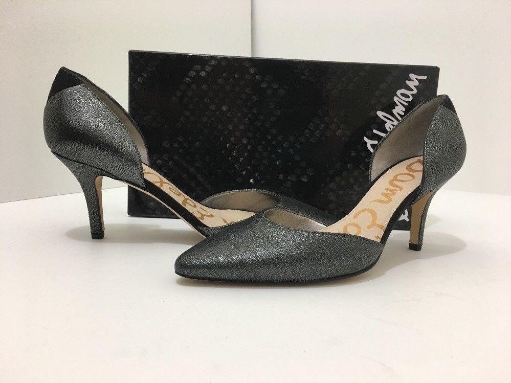 Sam Edelman Opal Pewter Grey Rasputin Leather Women's High Heels Pumps Size  8 M