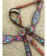 Western Horse Bling! Rainbow Tie Dye Leather Tack Set Headstall w/ Breast Collar - $97.81