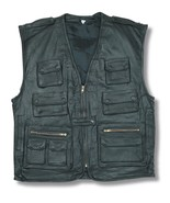 MULTI POCKET MULTI FUNCTIONAL LEATHER WAISTCOAT - $86.33