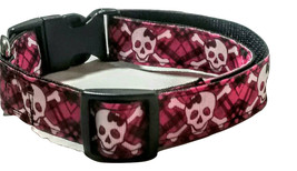 Skulls and bones Dog Collar in Pink Plaid and black with skulls and bone... - $16.00+