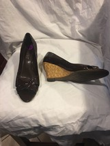 Wedge Franco Sarto Brown Patent Leather 8.5 Shoes Womens Heels Straw - $14.00