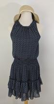 Forever 21 Women's Navy Blue White Floral Blouson Ruffle Layered Dress ... - $11.41