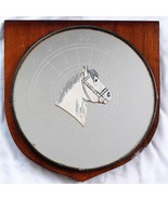 Vintage English Pub Bar Mirror Etched Dartboard and White Horse Handcrafted - $38.69