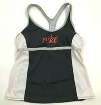 Nike Womens Racerback Tank Top Sports Bra Size 8 Black Workout Shirt Ath... - $17.83