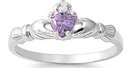 STERLING SILVER Baby RING W/CZ Faux Amethyst Faux  Claddagh pinky right ... - $9.99