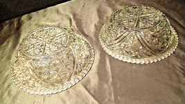 Heavy Etched Cut Glass Serving Bowls (Pair) AA20-CD0059 Vintage image 3
