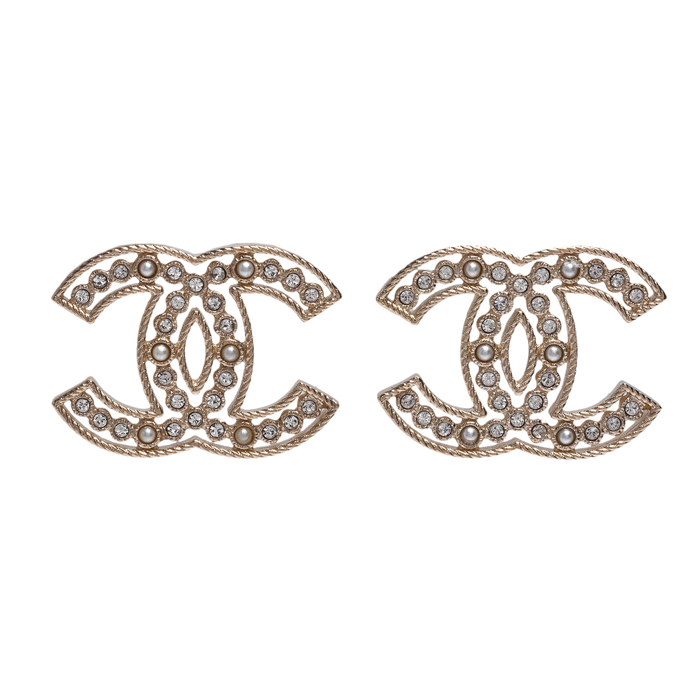 100% AUTH NEW CHANEL 2019 SS XL Large Gold CC Crystal PEARL Stud Earrings